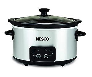 Nesco DSC-4-25 Digital Stainless Steel Slow Cooker 4 Quart Silver