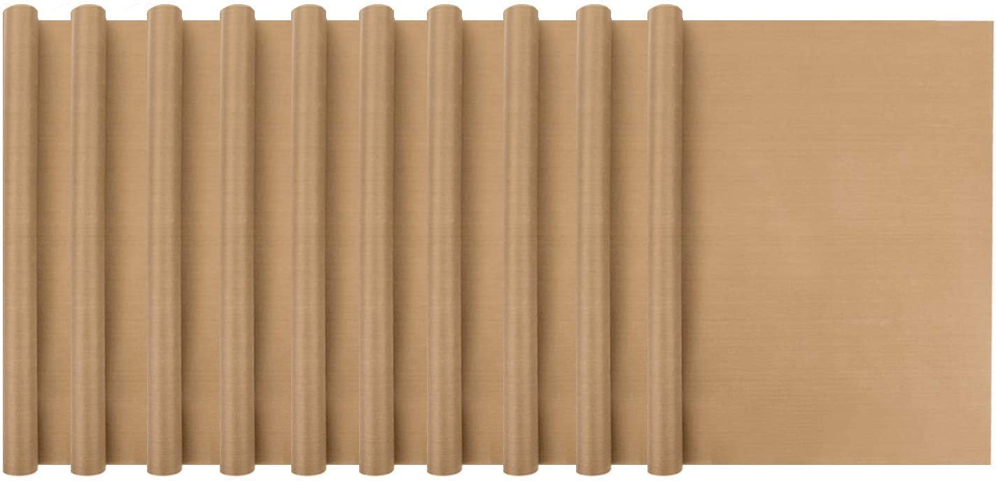 "Cutequeen 16"" x 24"" Teflon Sheet Heat Press Resistant Transfers Non-Stick Baking Mats (10pcs, Coffee)"