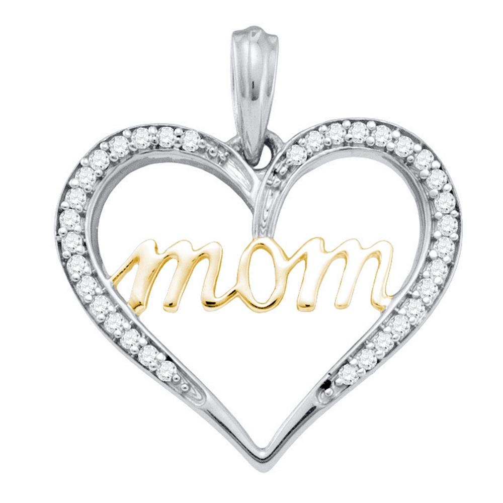 10k White Gold Diamond Mom Mother Heart Love 2-tone Yellow-tone Pendant 1//10 Cttw
