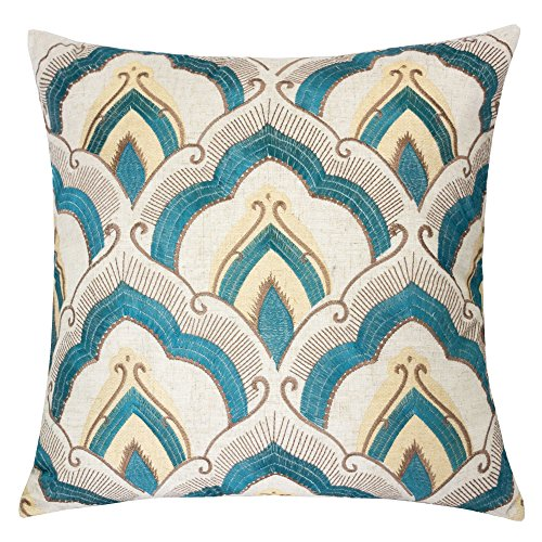 Homey Cozy Embroidered Linen Throw Pillow Cover, Raybrook Tan Teal Floral Decorative Square Couch Cushion Pillow Case 20 x 20 inch, Cover (Floral Square Decorative Pillow)