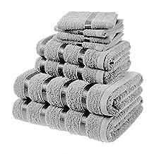 Belle Premium 8 Piece Luxury Hotel / Spa Towel Set Includes 4 face cloths ,2 hand towels, 2 bath towels - 100% Egyptian cotton Super Soft Towel Set By Laura Secrets (Silver)