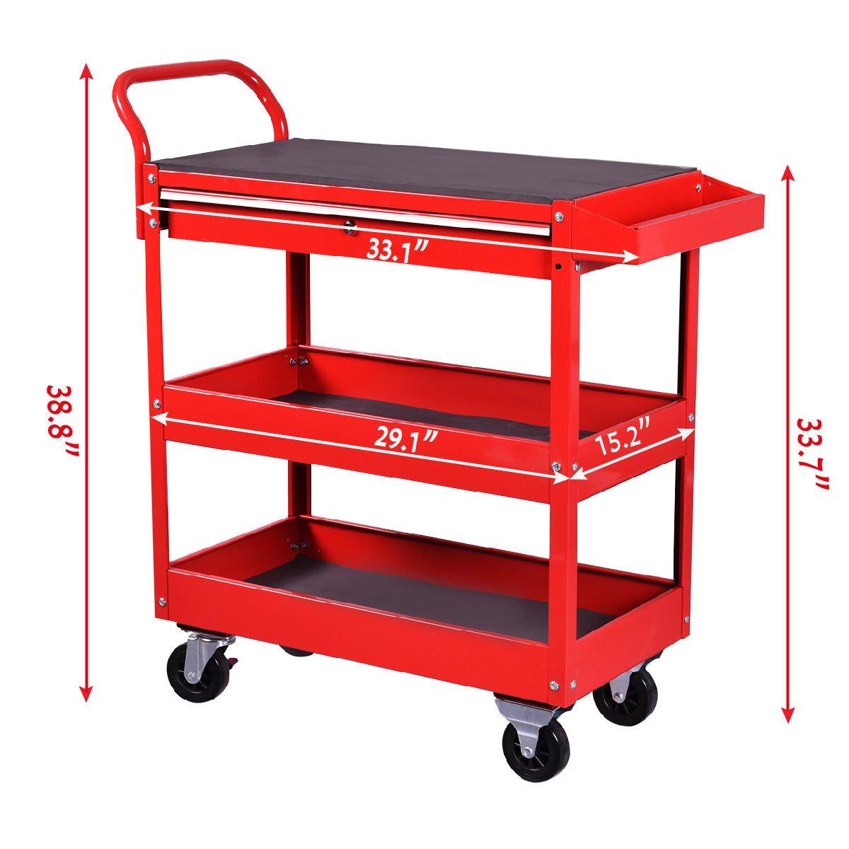 Goplus Tool Cart Rolling 36-Inch Steel Tool Chest Box Wheels Trays w/ Locking Drawer, Red by Goplus (Image #2)