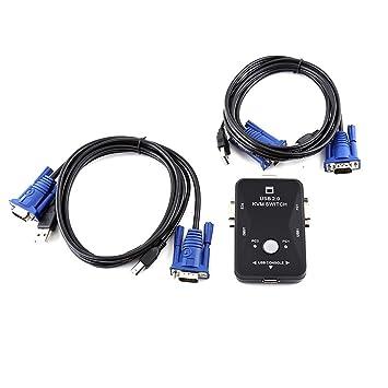 2 Puerto USB VGA Cables KVM Para Compartido Monitor De La PC Del Teclado Del Ratónr
