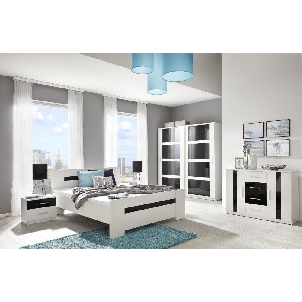 JUSThome Presto Max Schlafzimmerset Schlafzimmerkombination Schlafzimmer komplett Set Weiß Schwarz