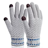 Gloves Touchscreen,Mossio Winter Gloves Texting Thick Windproof Warm Knit Mittens Grey