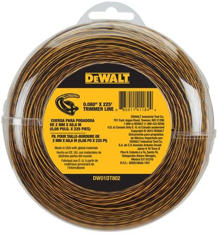 Dewalt DWO1DT802 225-Feet by 0.080-Inch String Trimmer Line - Recommended for Home Use