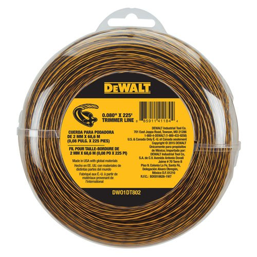 - DEWALT DWO1DT802 String Trimmer Line, 225-Feet by 0.080-Inch