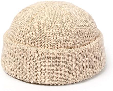 Vintage Hat Men Women Knitted Beanie Docker Fisherman Cuff Brimless Cap