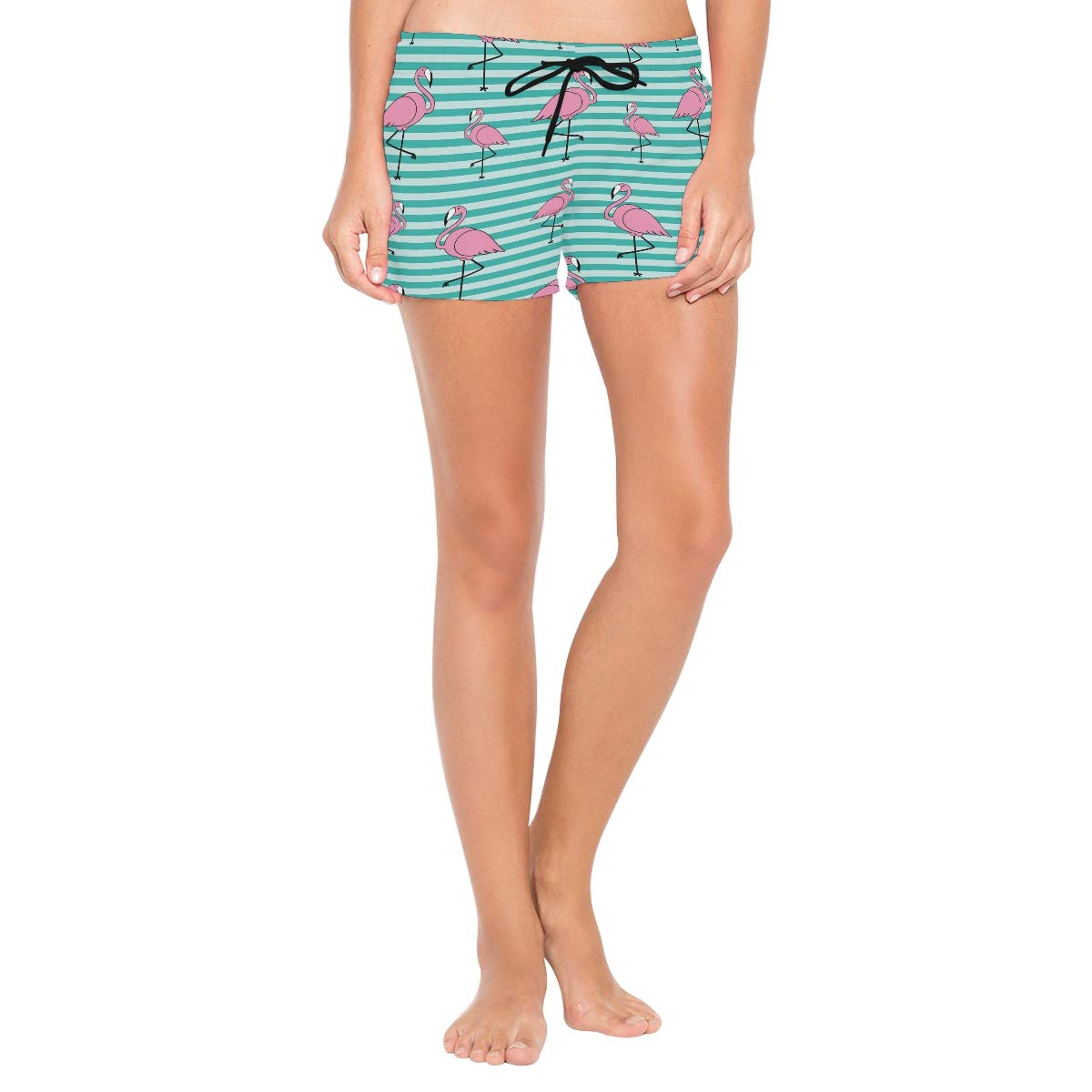CENHOME Women Swim Trunks Pink Flamingo Pattern Blue Stripes Beach Board Shorts