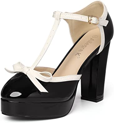 Womens Chic Round Toe Buckle Ankle Strap Platform Chunky High Heels Pumps Shoes