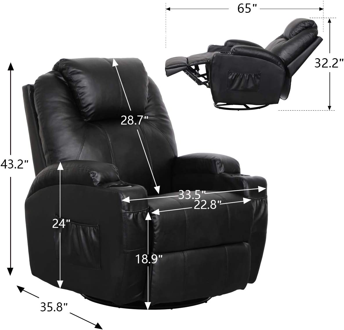 Esright Recliner Lounge Chair dimensions