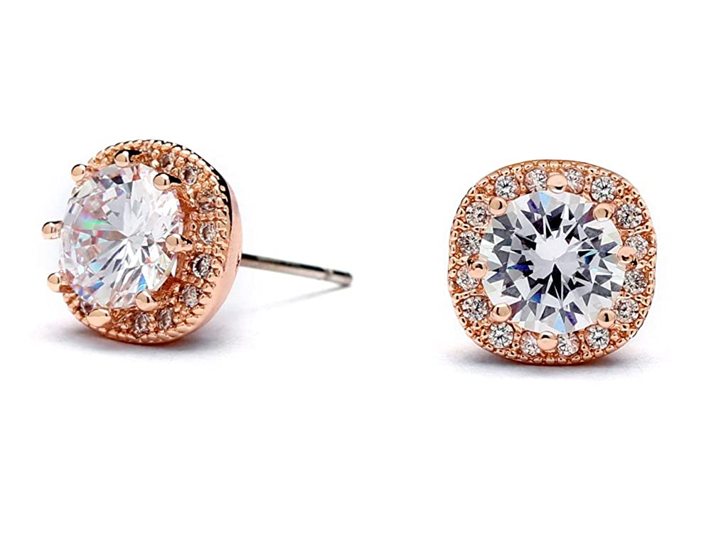 Mariell Rose Gold Plated Cubic Zirconia Cushion Shape 10mm Halo Stud Earrings with Round-Cut Solitaire