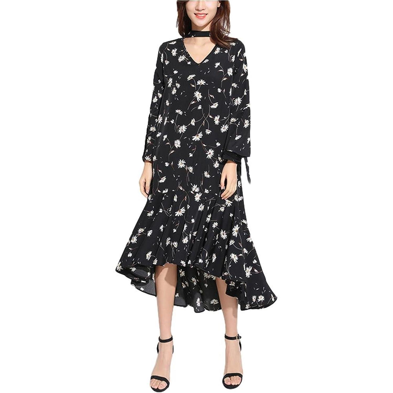 V-Ausschnitt Chiffon Kleid lose Kleid unregelmäßiges Kleid - schwarz