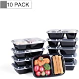 Glotoch Bento Box, 32 Ounce Wholesale 2 Compartment Plastic Food Storage Containers for Meal Prep-Microwave, Freezer & Dishwasher Safe - Eco Friendly Oven Safe Food Container, Pack of 10