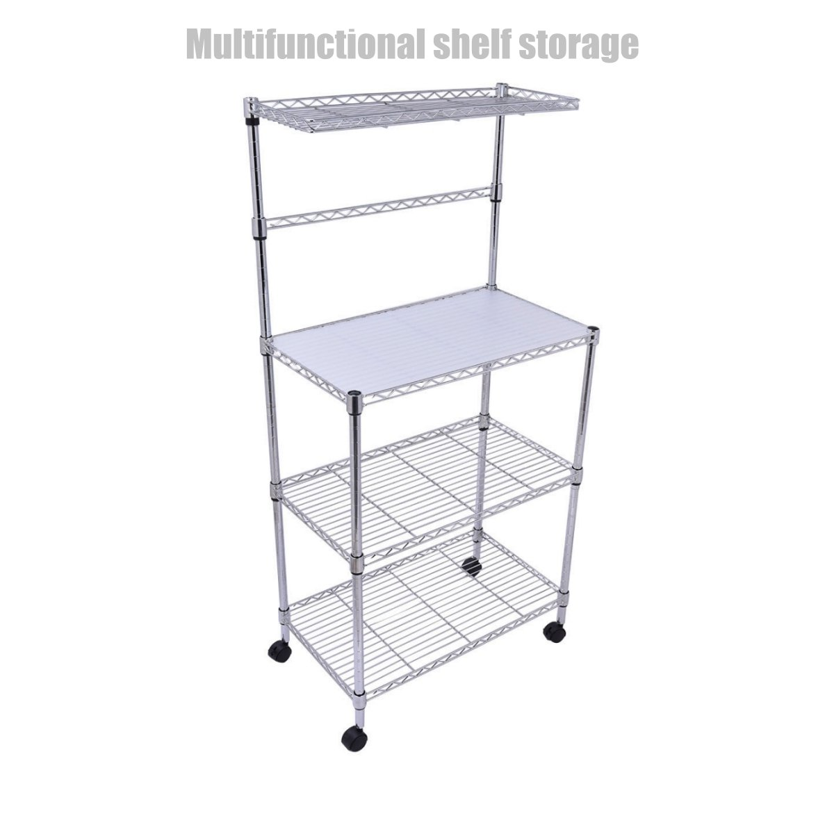 3 Tier Heavy Duty Kitchen Office Rack Microwave Oven Stand Storage Cart Wire Shelving Steel Shelf Adjustable Rack Durable Construction Stable Castor Wheels - Chrome Finish #1304