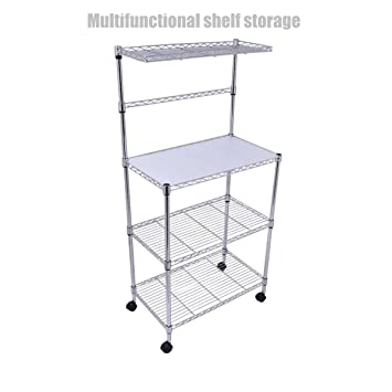 3 Tier Heavy Duty Kitchen Office Rack Microwave Oven Stand Storage Cart  Wire Shelving Steel Shelf