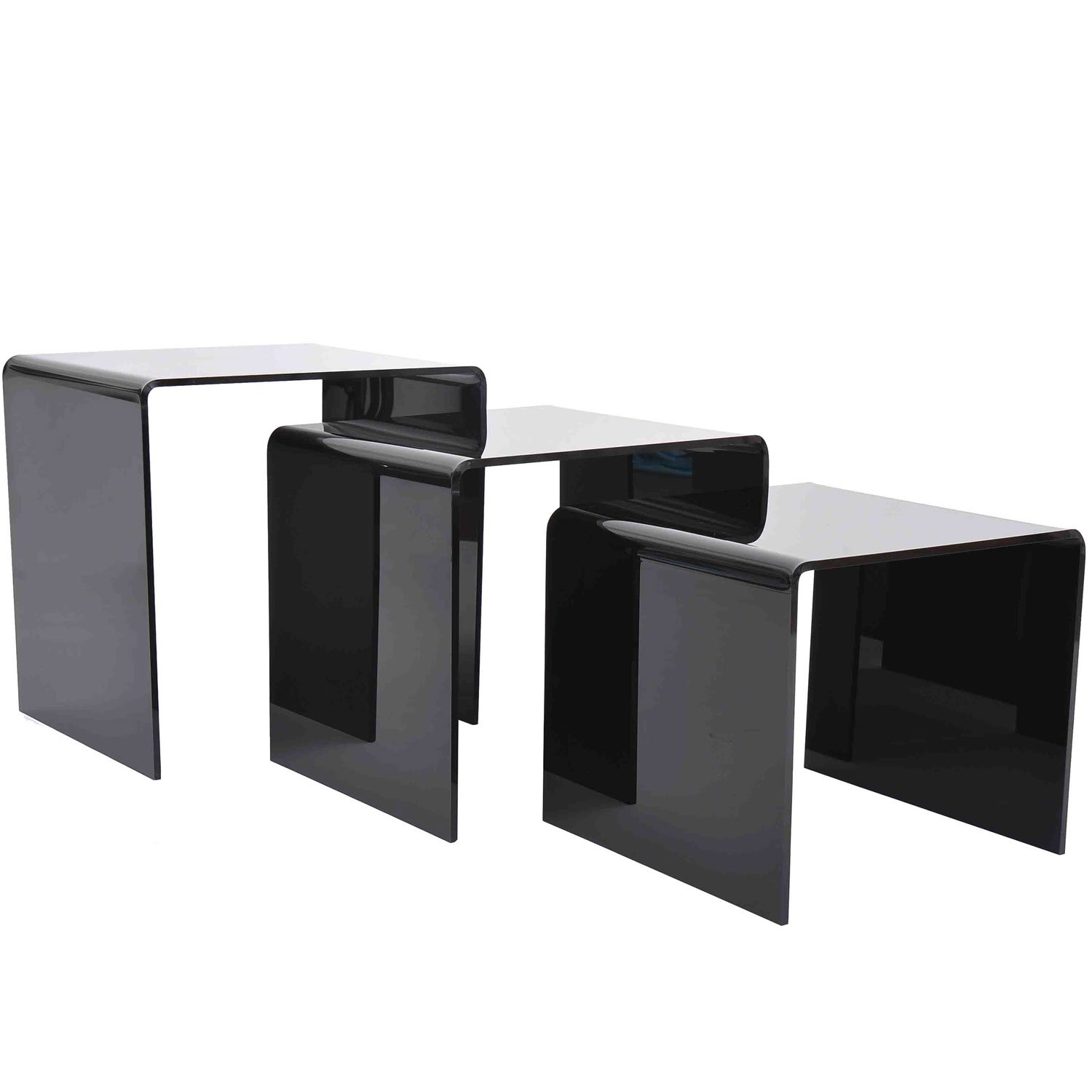 tinkertonk 3 Black Nesting Tables Wood Nest of 3 Tables Living