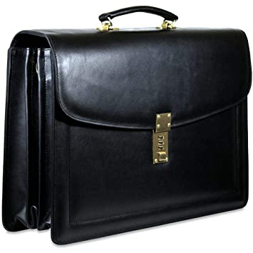 dc89bdbfb344 Amazon.com: Jack Georges Belting Triple Gusset Leather Briefcase w ...