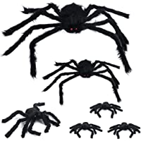 6 PCS Halloween Giant Large Big Spiders Decoration Set, Realistic Hairy Spider with Red Eyes and Bendable Legs for Scary…
