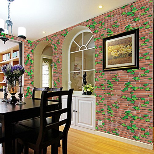 Modern Brick Pattern Self-adhesive Peel-Stick Wallpaper Wall Sticker Vinyl Removable Contact Paper Wallpaper-17.7x39 ()