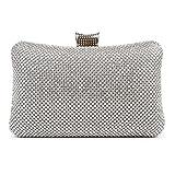 BAIGIO Sparkle Rhinestone Evening Clutch Purse Elegant Diamante Evening Bag (Silver)
