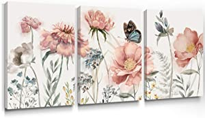 Slody Pink Flower Wall Art Peony Canvas Prints Rustic Floral Wall Artwork Spring Landscape Butterfly Painting Modern Natural Picture Wall Decor for Living Room Bedroom Bathroom 12×16 Inch, 3 Panels