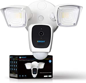 iBRIGHT Smart Floodlight Camera, 2.4 GHz 1080P HD, 2,600 lumens, PIR Motion Activated True Detection, Two Way Talk Siren Alarm, Works with Alexa & Google Assistant (1 Pack)