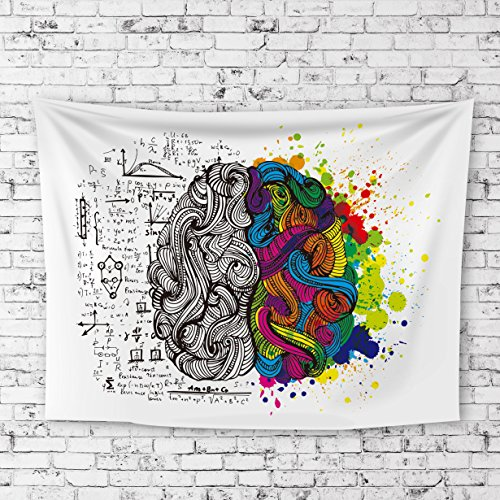 """iLeadon Tapestry Left and Right Brain White Wall Hanging – Polyester Fabric Wall Decor for bedroom (60""""H x 80""""W, Left and Right (Floral Tapestry Fabric)"""