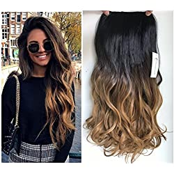 "20"" Wavy 3/4 Full Head Clip in Hair Extensions Ombre One Piece 2 Tones (Natural black/Dark Blonde) DL"