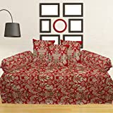 Tanya's Homes Delight Red with Textured Abstract design Modern 100% Cotton Diwan sets -Pack of 6 PC (1 Single bedsheet , 3 cushion covers , 2 bolster covers )with free tie up threads