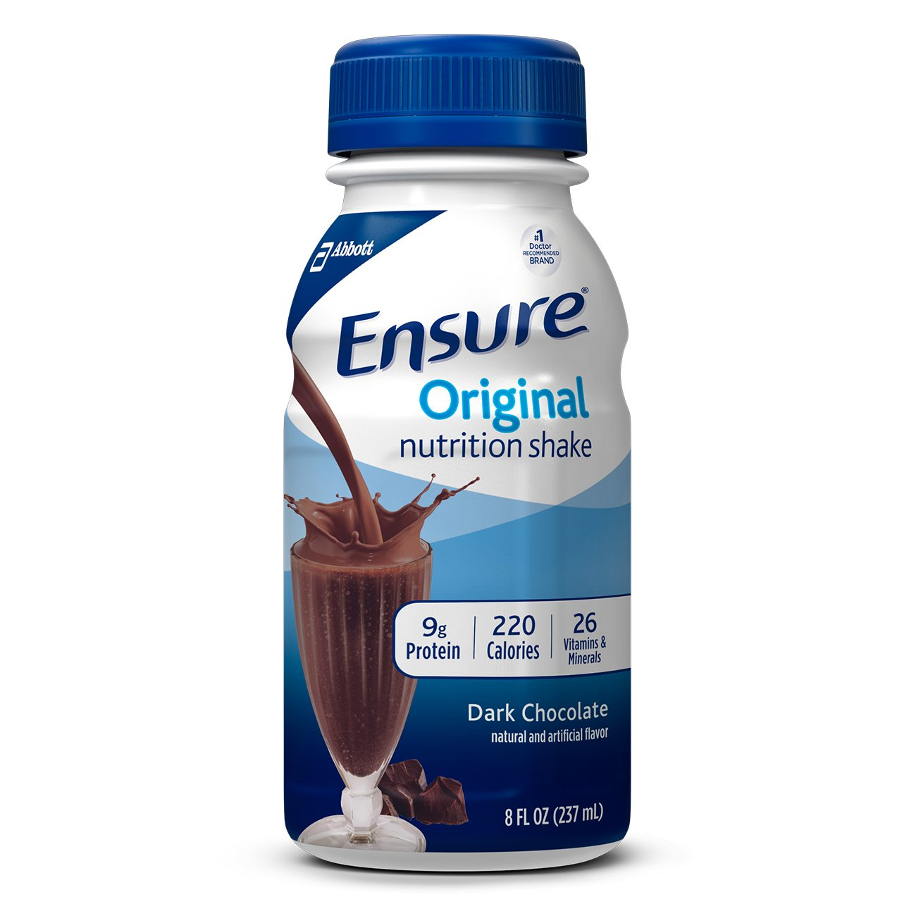 Ensure Original Nutrition Shake with 9 grams of protein, Meal Replacement Shakes, Dark Chocolate, 8 fl oz (24 Count)