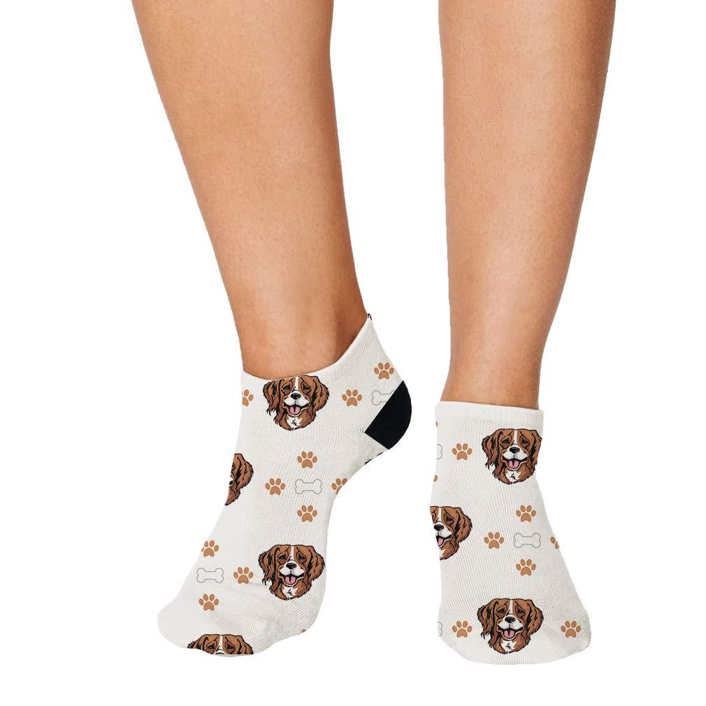French Brittany Dog Bones Paws Pattern Men-Women Adult Ankle Socks
