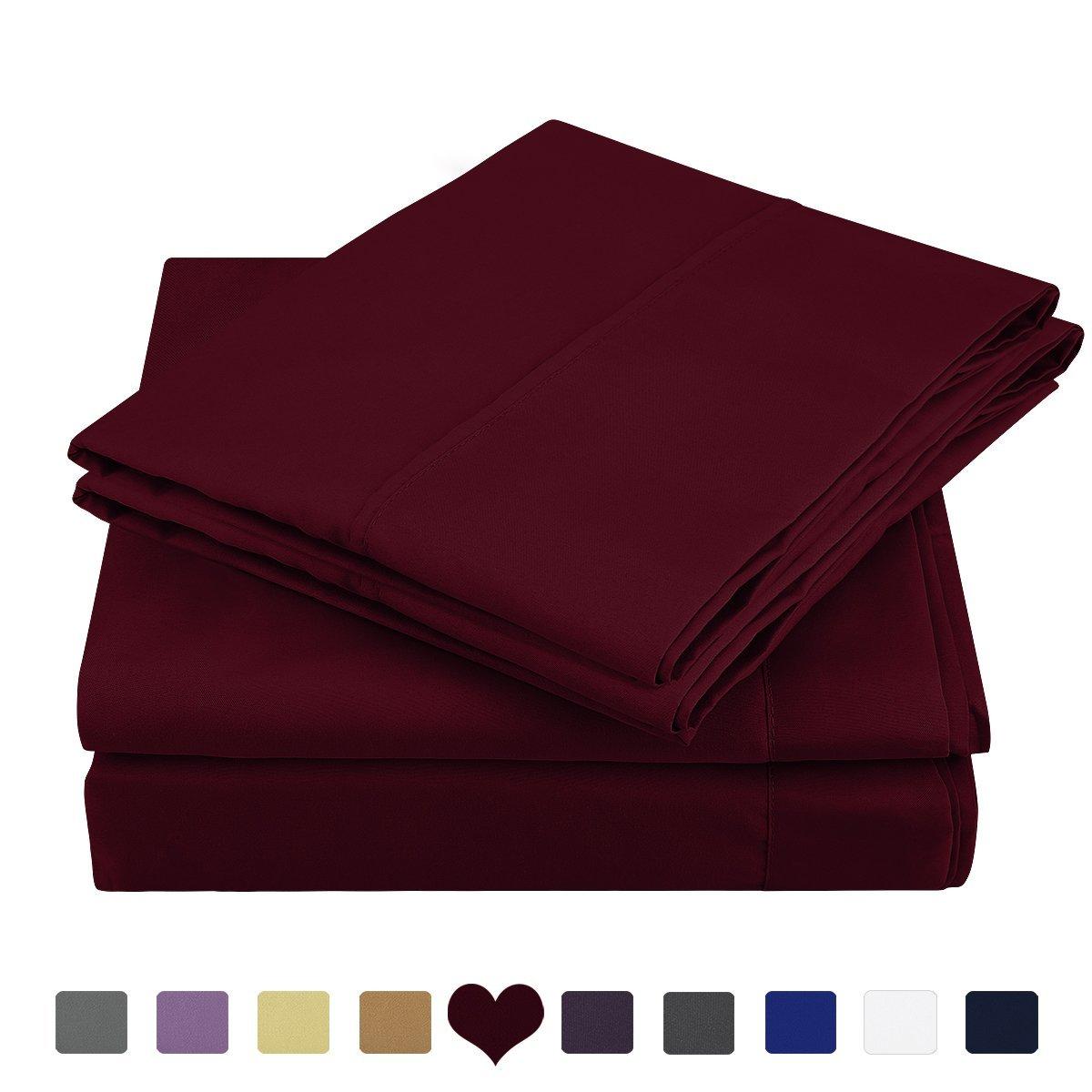 HOMEIDEAS 4 Piece Bed Sheet Set (Full,Burgundy) 100% Brushed Microfiber 1800 Bedding Sheets Deep Pockets,Wrinkle & Fade Resistant