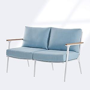 BLUU Loveseat Sofa in Patio Furniture Set Outdoor Aluminum Conversation Sets for Indoor Garden Porch Deck with Cushions (Loveseat)