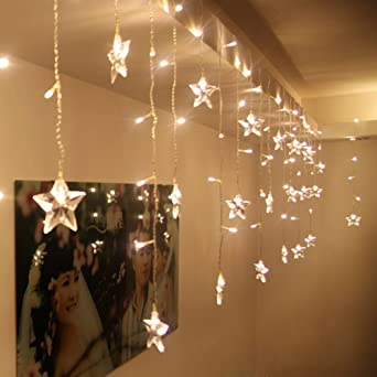 SHHE Christmas Fairy Lights M M Modes Star Led Curtain - Star fairy lights for bedroom
