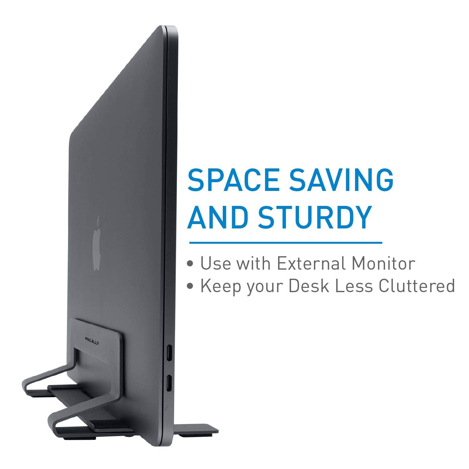 Macally Vertical Laptop Stand for Desk Space - Adjustable Vertical Stand Cradle - Laptop Holder - Apple MacBook Pro Air/Asus Chromebook Flip Samsung Notebook 9 Lenovo ThinkPad Dell XPS Acer Switch by Macally (Image #2)
