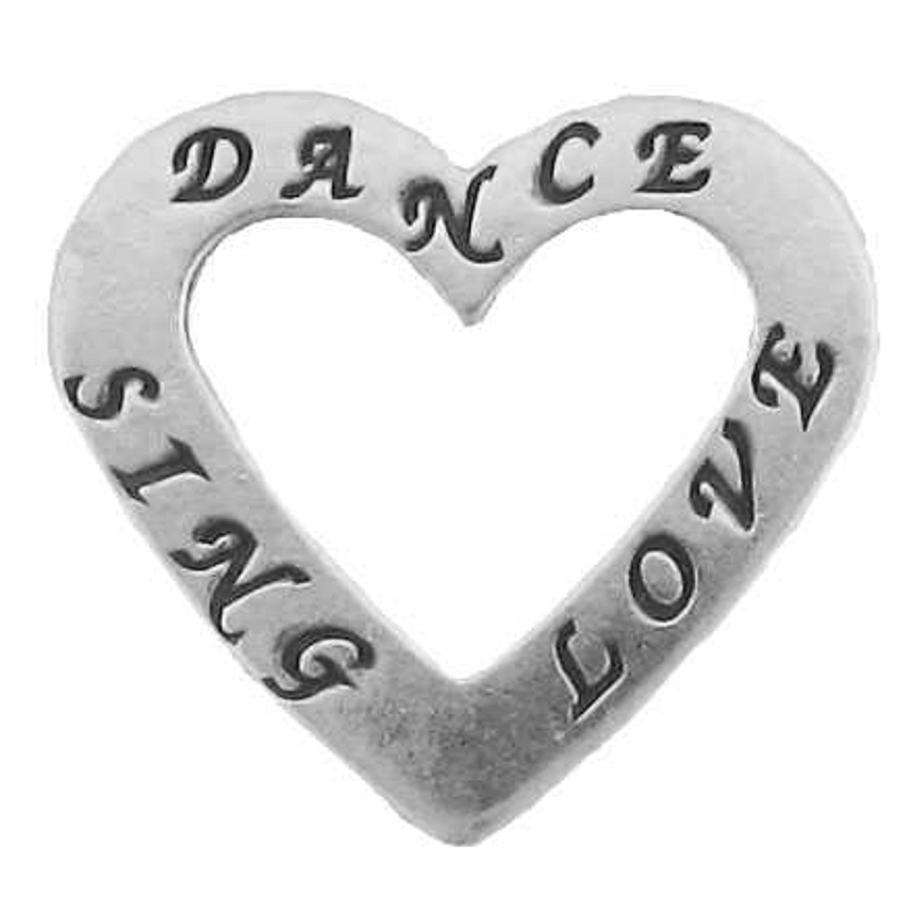 Sterling Silver 30'' Men's 1.5mm Two Sided DANCE SING LOVE Heart Shaped Slide Pendant Necklace