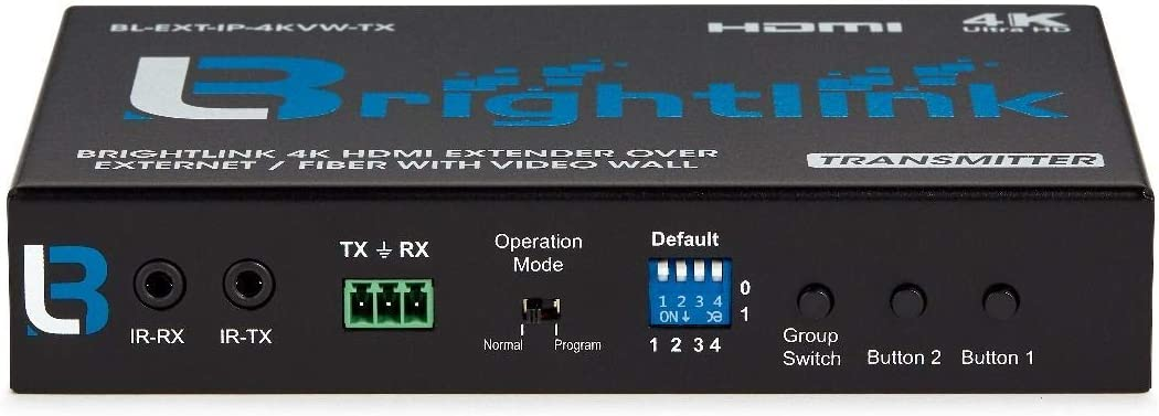Brightlink 4K HDMI+USB KVM Extender Over IP//Fiber with Built in Video Wall Feature Transmitter ONLY