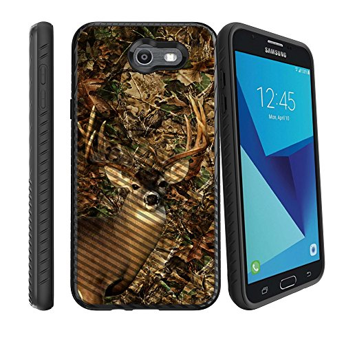 MINITURTLE Case Compatible w/Samsung Galaxy J7 Sky Pro Phone Case w/Grip Pattern [Slim Case for Galaxy J7V, for J7 2017, for J7 Perx] Hard Shell Hybrid Case SMJ720 Phone Deer Hunting Camo Camo Cell Phone Accessories