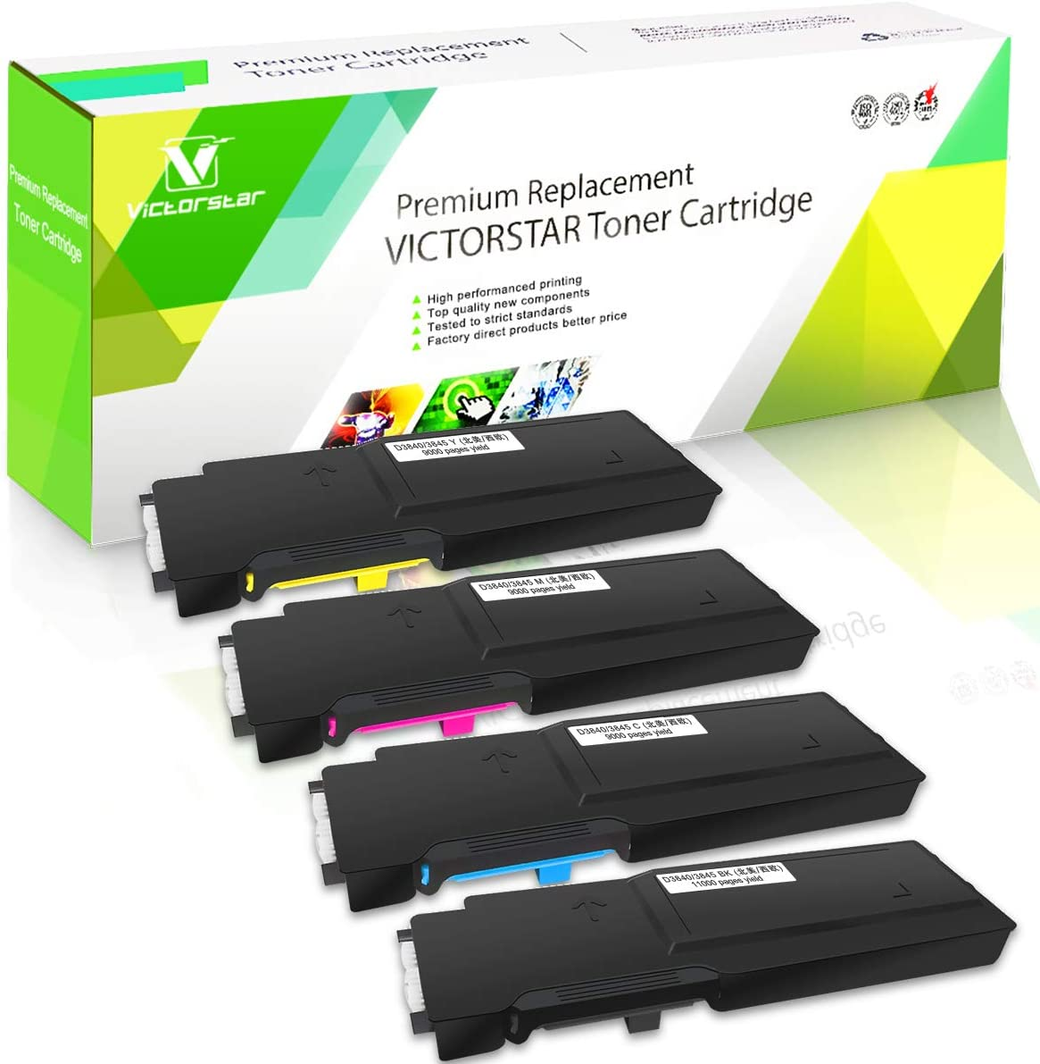 4 Color Compatible Toner Cartridges S3840 S3845 Extra High Yield 11000 Pages for Black 9000 Pages for C M Y for DELL S3840cdn S3845cdn Printers VICTORSTAR