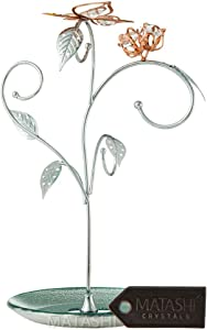 Matashi Elegant Floral and Butterfly Display Design Home Decorative Hanging Jewelry Stand (Rose Gold - Chrome Plated) Gift for Valentine's Day Mother's Day Birthday Christmas Dressing Table Ornaments