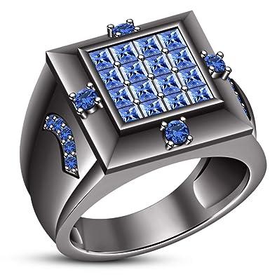 b946cd6505ee Lilu Jewels - Anillo de Compromiso para Hombre (Plata de Ley 925 ...