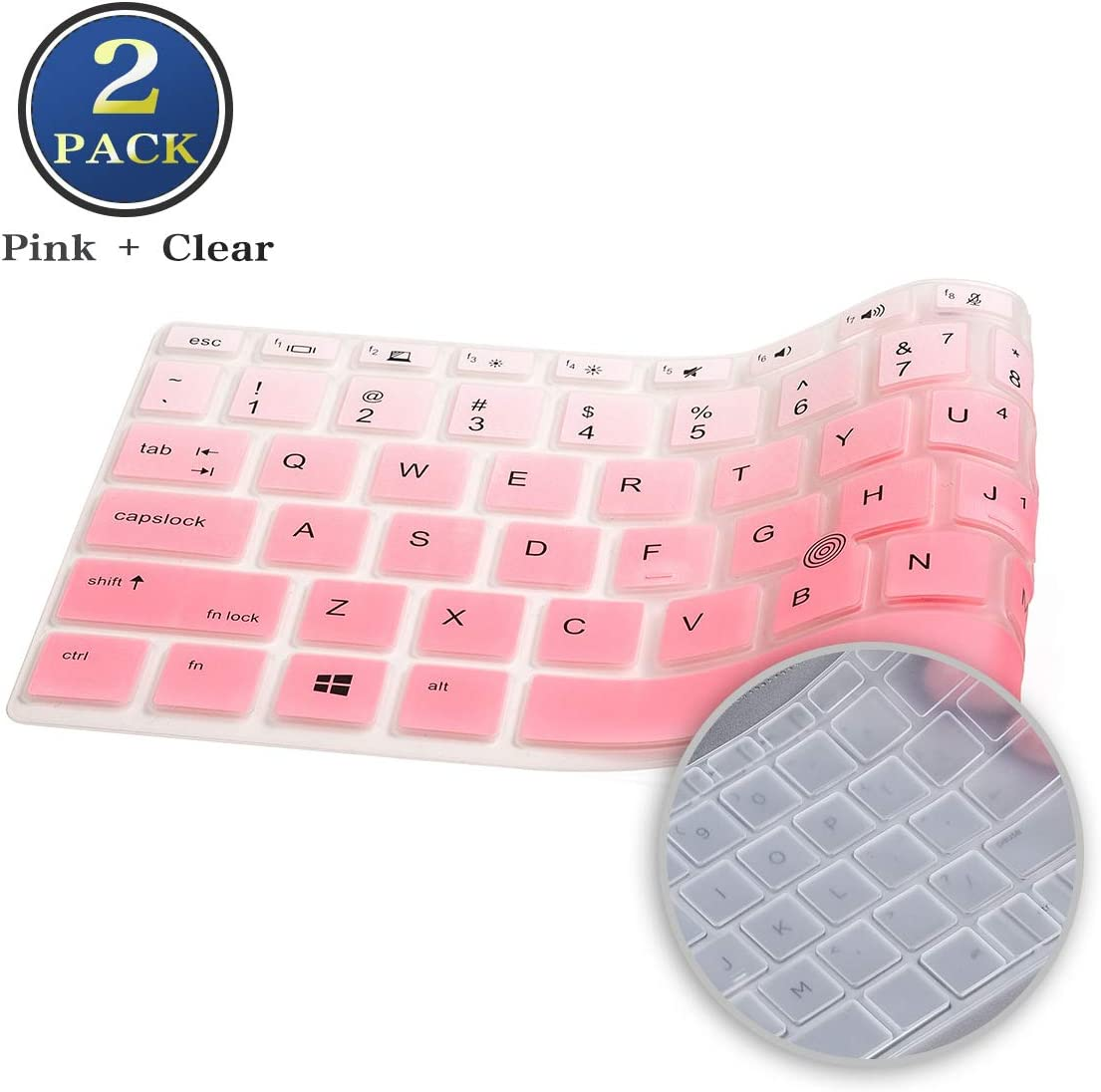 Keyboard Cover for HP EliteBook 14 Inch 840 G5/ G6, HP EliteBook 745 G5 G6 14 Inch, HP ZBook 14u G5 G6, HP EliteBook 840 Keyboard Skin Protector (Ombre Pink+Clear)