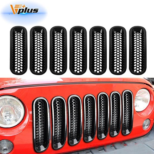 Partsam Jeep Grille Jeep Wrangler Mesh Grill Insert Jeep Grille Guard Front jk Grille Inserts For 2007-2016 (7PCS)