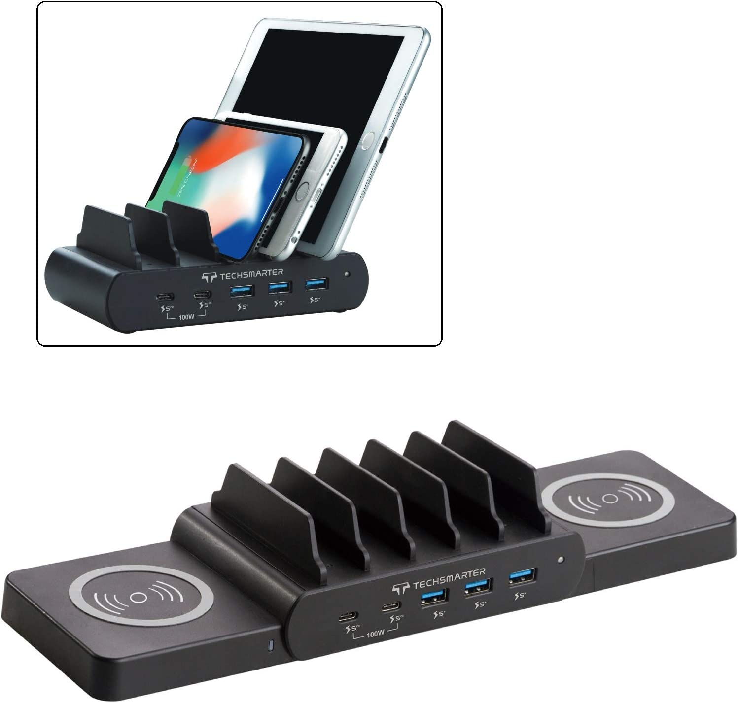 Techsmarter 7-Port Charging Station with 100W Dual USB-C PD, Dual 15W Wireless Charger, Three 18W Fast Charging USB Ports. Compatible with MacBook, iPad, iPhone, Samsung, Dell, HP, Lenovo