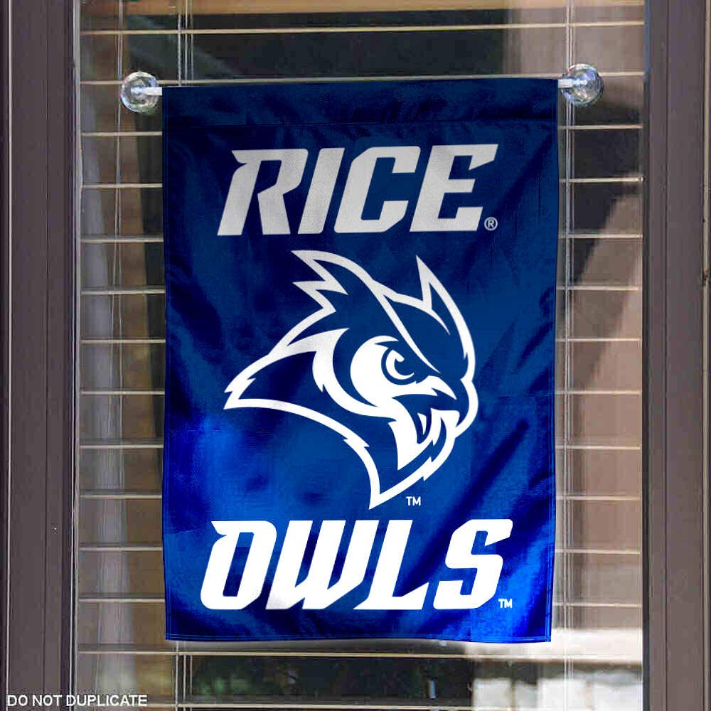 College Flags and Banners Co Rice Owls New Owl Logo Garden Flag
