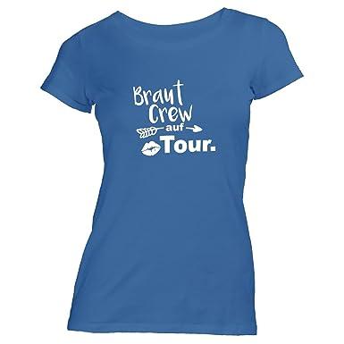 ShirtFlow Damen T-Shirt JGA Braut Crew auf Tour Lips Pfeil  Amazon ... eeeeb80133