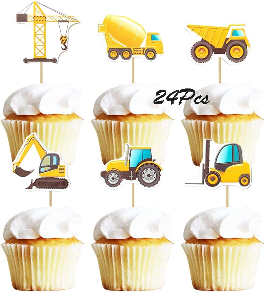 5X construction vehicle tractor cupcake cake topper baby shower birthday decorVG