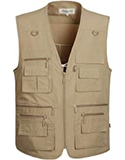 Flygo Mens Summer Outdoor Work Safari Fishing Travel Photo Vest with Pockets (X-Large, Style 01 Khaki)