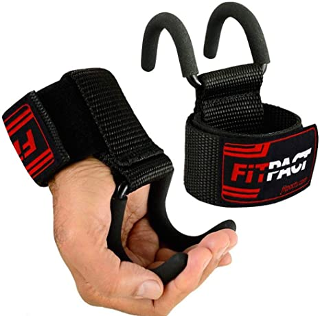 Fitness Wrist Weight Lifting Hooks Training Gym Grips Straps Support Black